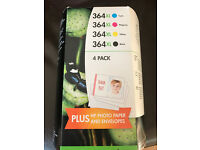 HP photosmart 364XL Ink Cartidges 4 Pack plus HP photo paper and envelopes