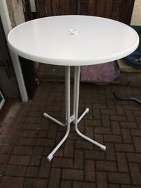White tall plastic and metal foldable bistro table, £10