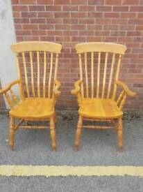 Matching Pair of solid Beech open Armchairs
