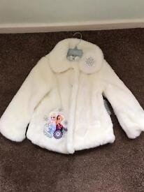 Disney store frozen fur coat size 5-6. Brand new with tags