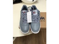MENS GREY REEBOK CLASSIC TRAINERS UK 10 EU 44.5 (BRAND NEW BOXED) CAN POST