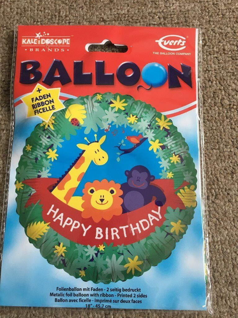 Happy Birthday Childrens Boys Girls Helium Balloon Foil Present Gift Delivery Zoo Animals Lion