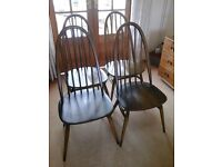ERCOL WINDSOR QUAKER DINING CHAIRS. SET OF 4 IN BEAUTIFUL CONDITION