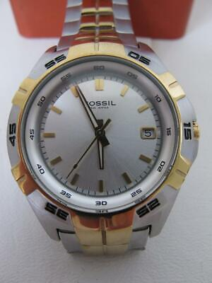 NWT Fossil Men's Watch AM3998 Two Tone Silver Stainless Steel Gold Date Display