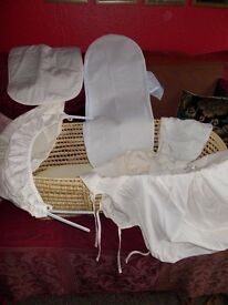 Moses basket with stand, hood, lining and bedding