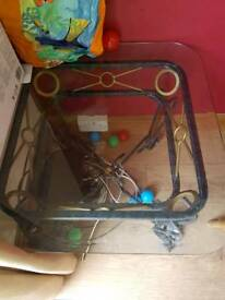 Cast iron glass table