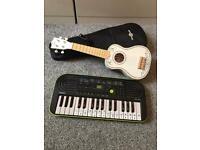 Small keyboard and ukulele