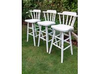 3 Shabby Chic Solid Pine Bar Stools
