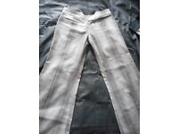 Wide leg/ Flare trousers grey and stripy blue - size 10 from FullCircle