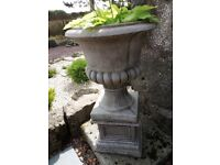 Reconstituted stone urn with plinth and free hosta.