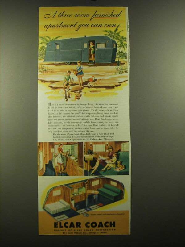 1947 Elcar Coach Ad - A three room furnished apartment you can own