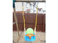 Multi stage swing seat for an outdoor swing