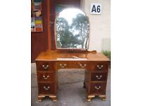 Mid Century drawers dressing table vintage mirror dresser c. 1950, chest of drawers solid wood desk.