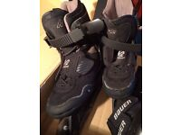 K2 Black Magic Inline Skates (Womens Size 5) & Bauer knee pads /wrist guards
