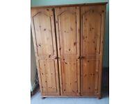 Real wood Pine triple wardrobe