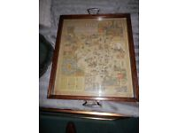 Unusual Wooden tray with Rhineland Vinyards inset