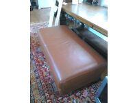 Large modern leather footstool , cognac