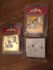 2x Brass Power Point Sockets & 1x Standard (Unused / Sealed)