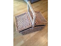 Wicker basket with carry handle