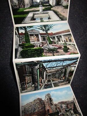 Vintage Fold-out Postcard Mini-Views Booklet POMPEI, ITALY 20 Color Photographs