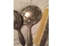 Antique silver dressing table set mirror brush comb .