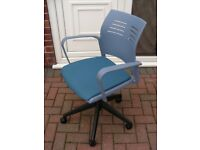 Office Arm Chair Blue Padded Seat Swivel Gas Lift Height Adjustable on Casters - Scuffs on Arm
