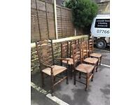 Antique solid oak chairs and carver