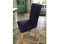 Six upholstered dining chairs - dark blue fabric