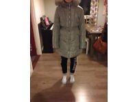 Brand new girls 13 yrs padded coat with fur hood