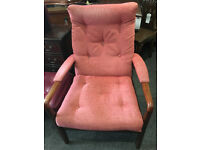 Charming Vintage Retro Cintique Style Teak Easy Lounge/Fireside Armchair