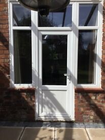 WHITE upvc French patio door with side windows
