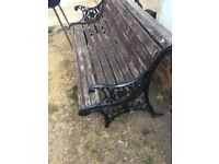 Cast iron table chairs and bench