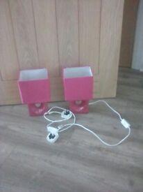 2 pink bedside lights