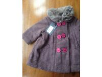 NEW Catimini baby coat with removable fur collar - size 6 months