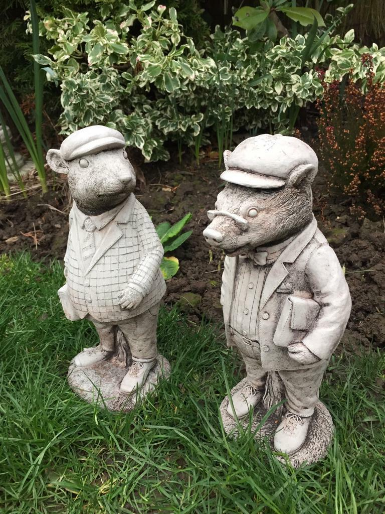 Wind in the willows ornaments - Pair Stone Garden Wind In The Willows Type Characters Lovely Detail New