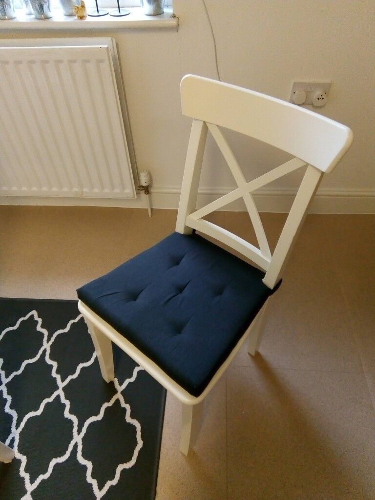 Ikea Ingolf White Dining Chair With Padded Seat Cushion