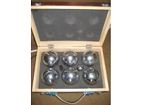 Six Metal Ball Boules Set in a Wooden Case