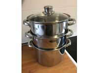 Kitchen Craft 20 cm Stainless Steel 3 Tier Steamer with Glass Lid