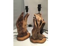 Lovely unusual pair of Driftwood Bedside Table Lamps
