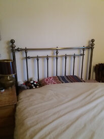 new metal polished brass headboard for double bed