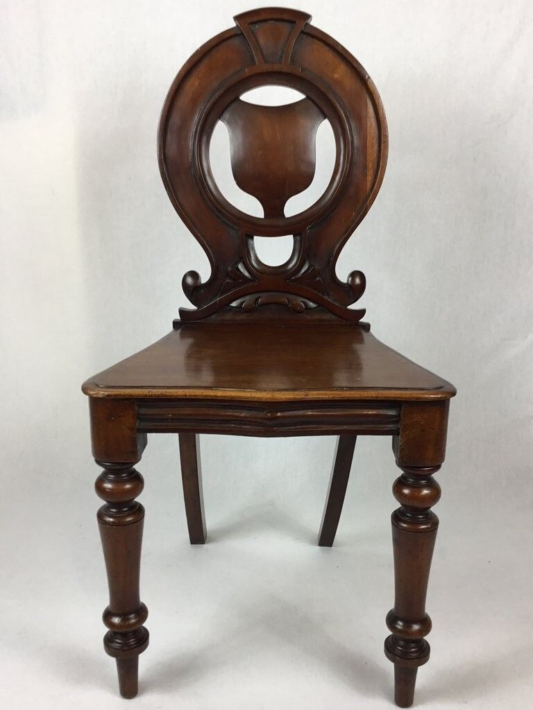 Hall Chair Antique Victorian Mahogany Hall Chair 19th Century Carved Chair  - See Delivery - Hall Chair Antique Victorian Mahogany Hall Chair 19th Century Carved