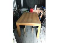OAK AFFECT DINING TABLE AND 4 CHAIRS