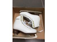 Size 1 girl's white ice skating boots in mint condition for just £15