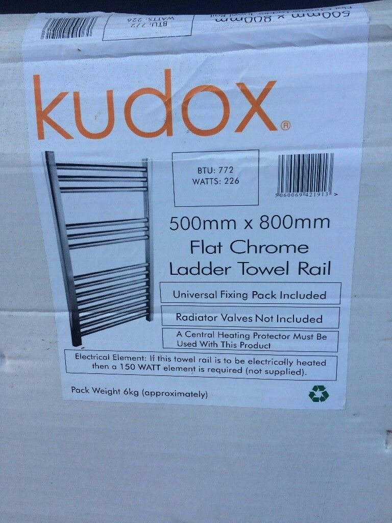 Chrome Ladder Towel Radiator - 500x800mm - Brand new in box