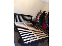 Double bed frame for sale, dark wood