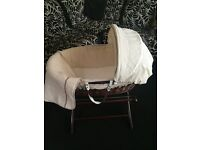 Moses Basket with stand (Hardly Used)