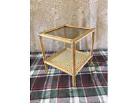 Conservatory Bamboo style table with Glass top and wicker shelve