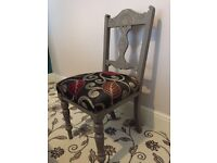 2 shabby chic chalk painted chairs re upholstered