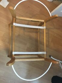 Excellent Condition Moses Basket stand- Wooden frame with rocking function