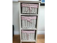 Painted 3 tier shelf unit with pink gingham baskets £15.00